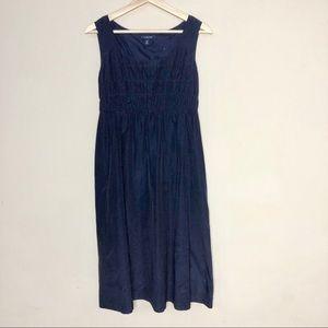 Lands End Navy A-Line Silk Dress Size 8P